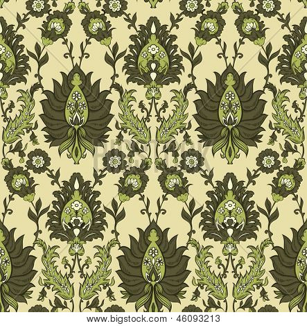 Persian floral vector seamless pattern