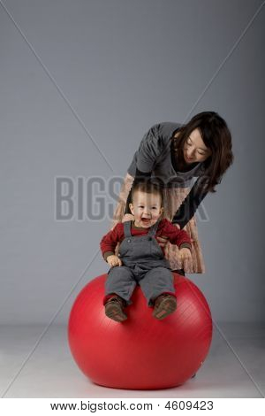 Japanese Mom And Son Playing