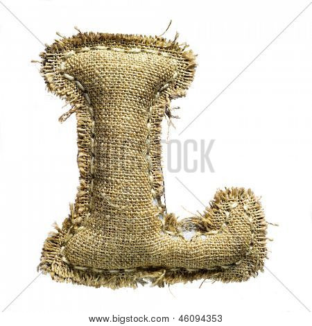 Linen vintage cloth letter l isolated on white