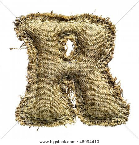 Linen vintage cloth letter r isolated on white