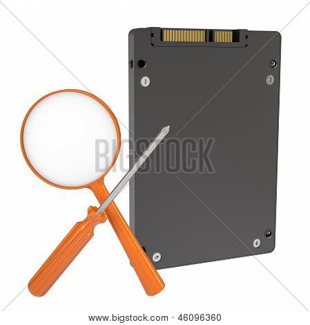 Solid-state drive, magnifier and screwdriver