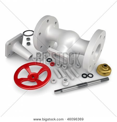 Disassembled valve