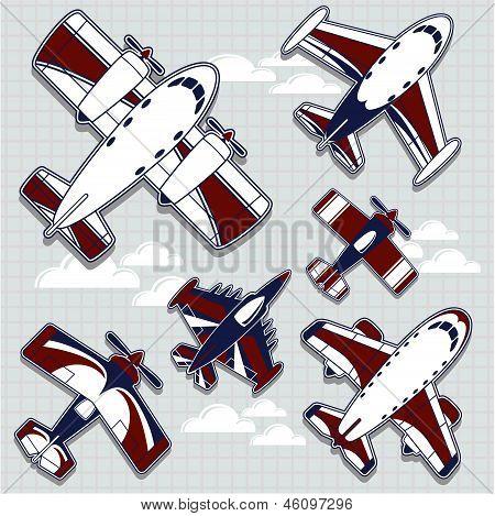 airplanes cartoon for childish decoration