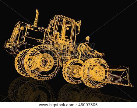 3d model bulldozer on black