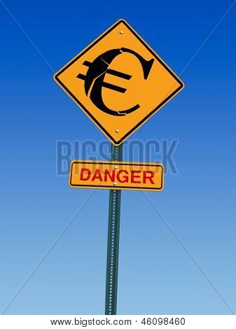 Euro Danger Ahead Sign