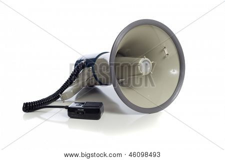 A gray bullhorn/megaphone on a white background