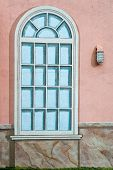 picture of wainscoting  - A mural of a classic style window with a rough stone wainscot - JPG