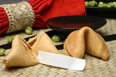 stock photo of fortune-teller  - fortune cookie with blank fortune paper - JPG