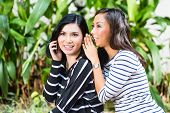Two Indonesian friends, in a tropical environment, one with Smartphone, the other whispers to her, a
