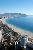 stock photo of costa blanca  - The city Benidorm on the Costa Blanca  - JPG