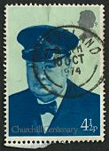 UK - CIRCA 1974: A stamp printed in UK shows image of the Churchill in Royal Yacht Squadron Uniform,