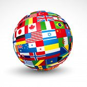 stock photo of longitude  - World flags sphere - JPG