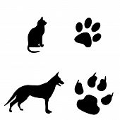 picture of dog footprint  - Cat and dog black and white illustration with their footsteps - JPG
