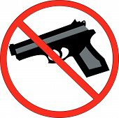 pic of crossed pistols  - hand guns prohibited or not allowed sign - JPG