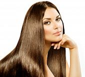 stock photo of dark-skin  - Long Straight Hair - JPG