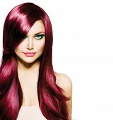 pic of hair cutting  - Beautiful Brunette Girl with Healthy Long Hair and Blue Eyes - JPG
