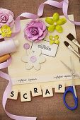 stock photo of card-making  - making of scrapbook greeting card - JPG
