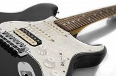 stock photo of stratocaster  - Black rock guitar stratocaster on white background - JPG