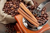 image of wooden box from coffee mill  - coffee grinder and sack with coffee beans - JPG
