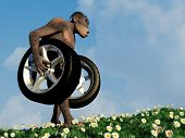 Primitive man has car wheels.