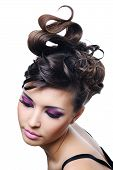 Woman With Fashion Hairstyle And Bright Stylish Make-up