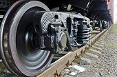 image of train-wheel  - Wheels of a freight train close - JPG