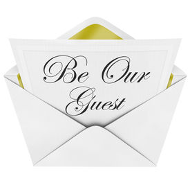 pic of cursive  - Be Our Guest words formal invitation envelope cordially inviting you to a party or other important special event - JPG