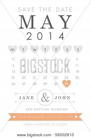 Save the date calendar style invitation
