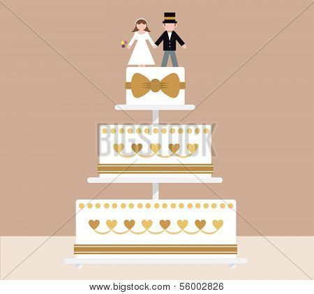 Bride and groom tier wedding cake