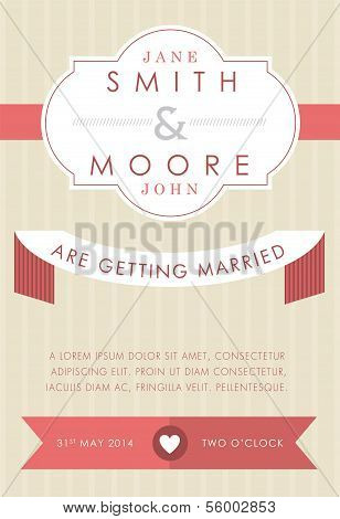 Wedding invitation beige and red style