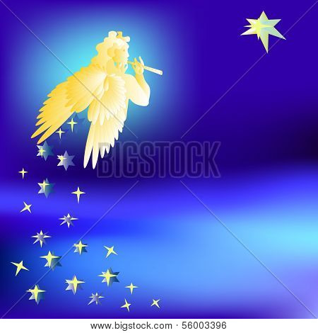 Angel welcomes the music star of the Magi-vector illustration
