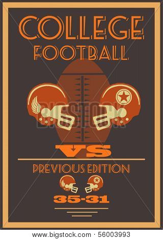 Vintage college American football poster