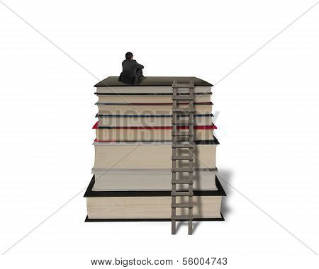 Businessman Sitting On Top Of Stack Books With Wooden Ladder