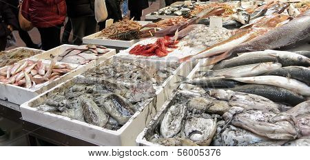 fish stand in street market