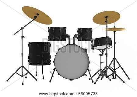 Drums isolated. Black drum kit.