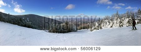 Panoramic view to ski slopes