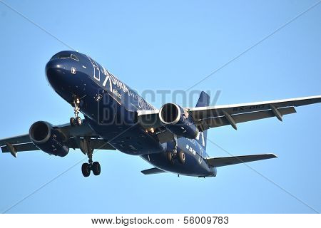 KAMARI, GREECE - CIRCA AUGUST 2013: An Astra SX-DIO plane from Astra Airlines is landing.
