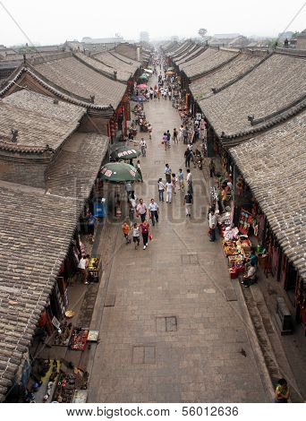 Erial View Of An Old Street In Pingyao, China