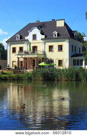 Staniszow, Poland - August 29th, 2013: Palace on the Water in Staniszow near Jelenia Gora, Poland