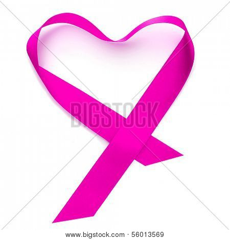 heart-shaped pink ribbon on a white background
