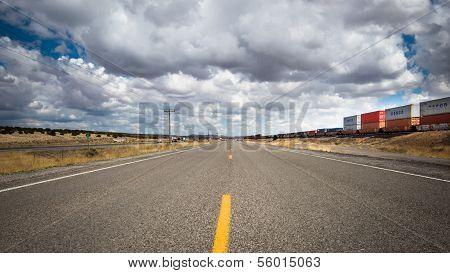 Route 66: Frontage Road, I-40 and train tracks near Thoreau, NM