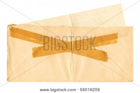 Vintage envelope with tape with letter insert