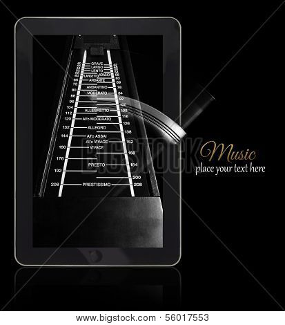 Online music metronome on black with copy-space