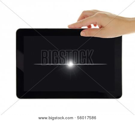 Black tablet with turned off screen isolated on white
