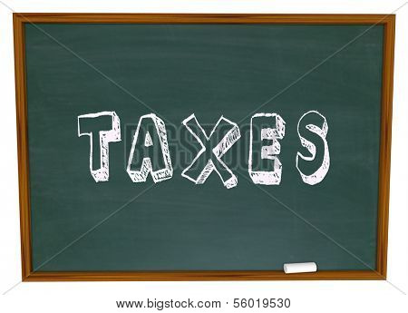 Taxes Word Chalkboard Figuring Taxation Income Tax Return
