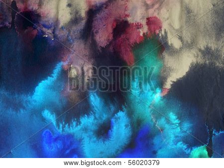 Abstract ink blob - digital edit painting background