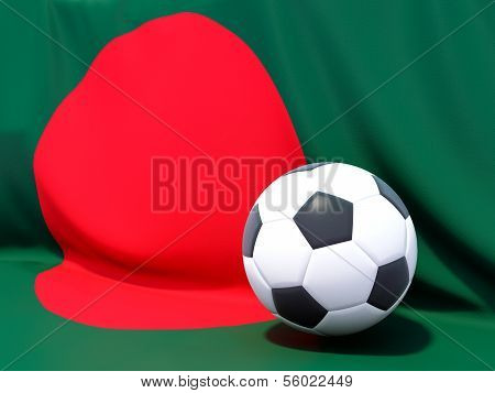 Flag Of Bangladesh With Football In Front Of It