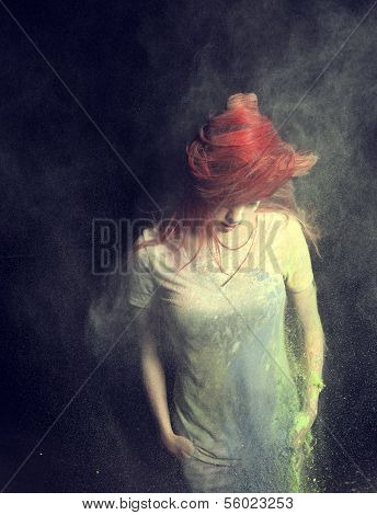 Girl Flinging Red Hair