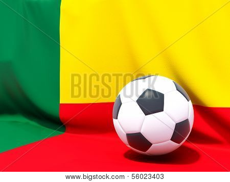 Flag Of Benin With Football In Front Of It