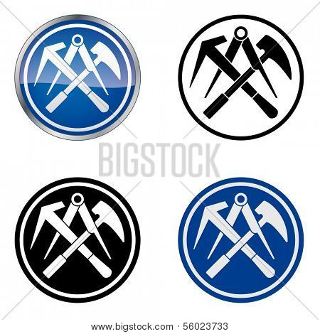 Roofer - Traditional Craftsmen's Guild Vector Symbol, four variations